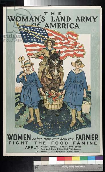 The Woman's Land Army of America, 1918 (colour litho)