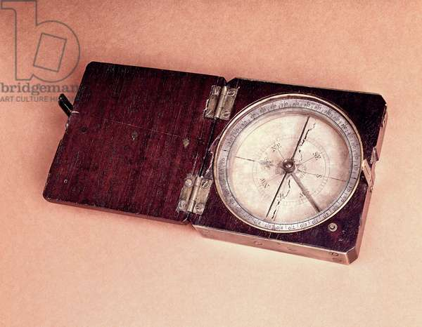 Lewis and Clark Expedition Pocket Compass, c.1804 (wood, brass & silver)