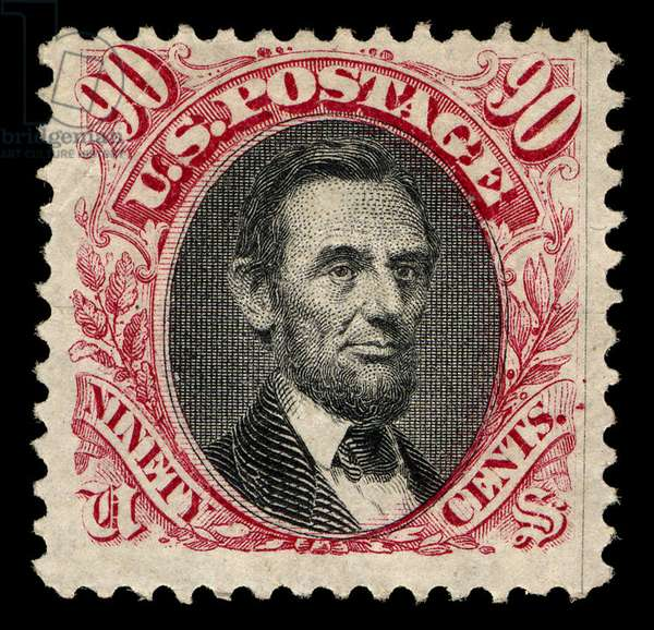 90-cent Lincoln stamp, 1869 (colour engraving)