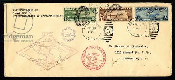 'Graf Zeppelin' Pan American Flight Cover, 1930 (envelope with postage stamps)