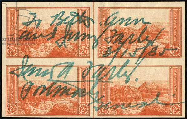 Two-cent Grand Canyon with inscription by James A. Farley, 1935 (postage stamps)