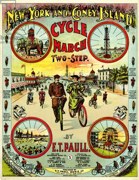 """New York and Coney Island Cycle March Two-Step,"" music and words by E.T. Paull, 1896 (colour litho)"