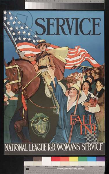 Service, Fall In! National League for Woman's Service, c.1914-18 (colour litho)