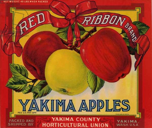 Red Ribbon Brand Yakima Apples, Yakima County Horticultural Union, Yakima, Washington (colour litho)