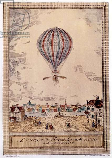 Lundari's Hydrogen Balloon takes off in London in 1784, engraved by Ch. Dupont, 1790 (hand-coloured wood engraving)