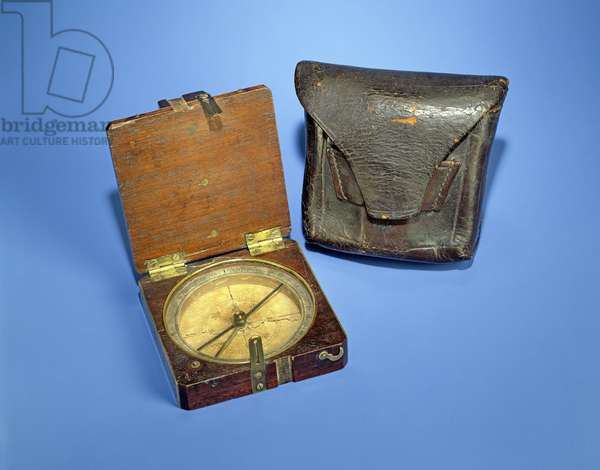 Lewis and Clark Expedition Pocket Compass, c.1804 (wood, brass, silver & leather)
