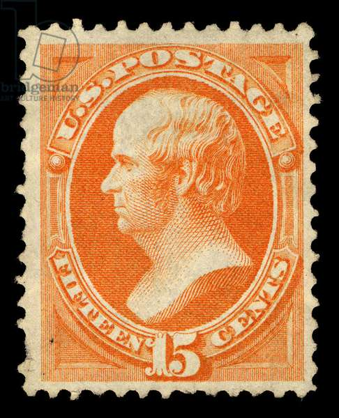 15-cent Webster stamp, 1870-71 (colour engraving)