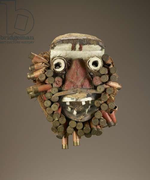 Face mask (polychrome wood, metal & shotgun cartridge cases)