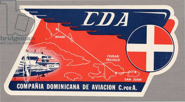 CDA baggage label (colour litho)