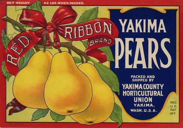 Red Ribbon Brand Yakima Pears, Yakima County Horticultural Union, Yakima, Washington (colour litho)