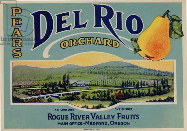 Del Rio Orchard Pears, Rogue River Valley Fruits, Medford, Oregon (colour litho)