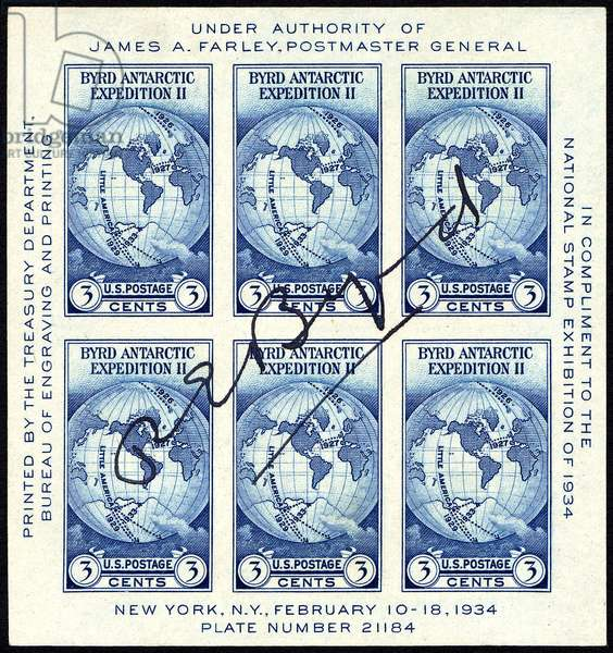 Three-cent Byrd Antarctic Expedition II autographed souvenir sheet, 1934 (engraving)