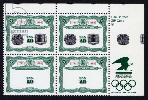 29 cent New York Stock Exchange Bicentennial inverted block of four, 17th May 1992 (postage stamps)