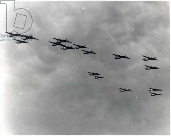 Boeing B-29 Superfortress in loose formation (b/w photo)