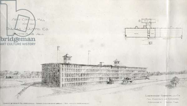New Cotton Mill for the Dallas Manufacturing Company, Huntsville, Alabama (engraving)