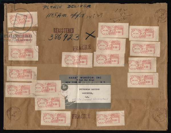 Hope Diamond Package Wrapper (brown paper & postage stamps)