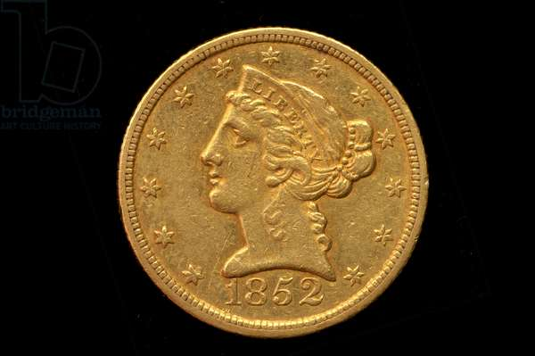 Five Dollar Half Eagle Gold Coin, 1852 (gold)