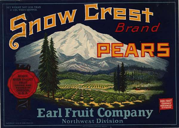Snow Crest Brand Pears, Earl Fruit Company, Northwest Division, 1919 (colour litho)