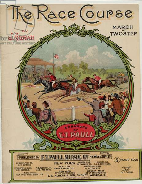 """""""The Race Course"""", composed by Jack Glogau, arranged by E. T. Paull, 1910 (colour litho)"""