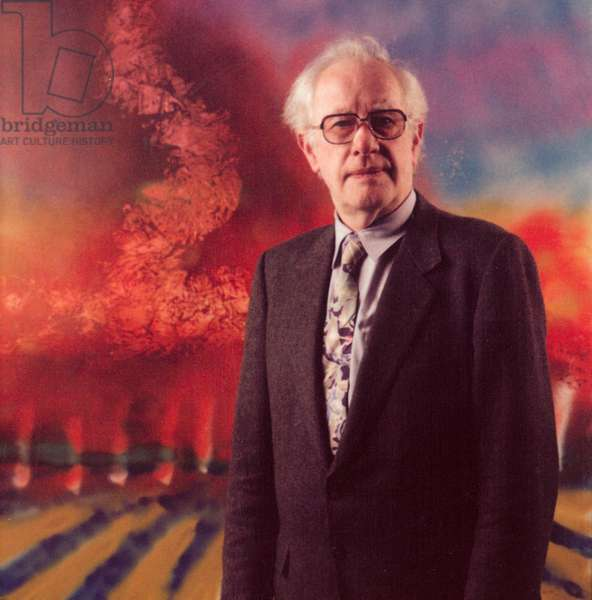 Sidney Nolan standing in front of one of his canvases painted in the Tithe Barn in 1988 (photo)