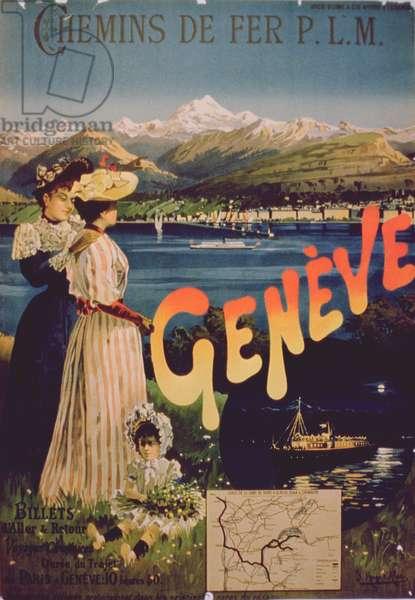 Advertisement for 'P.L.M. Railways to Geneva' (colour litho)