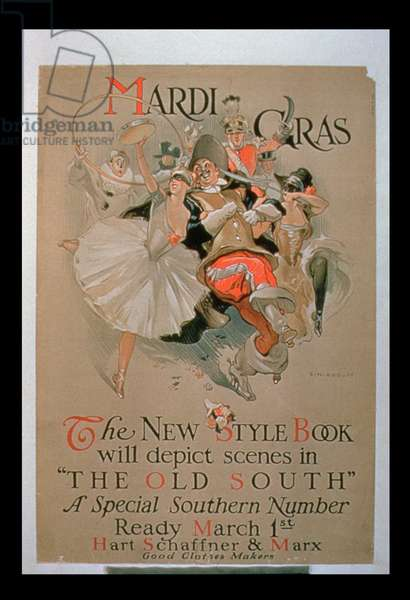 'Mardi Gras',  Advertisement for 'The New Style Book', Special Southern Number With Scenes From 'The Old South' (colour litho)
