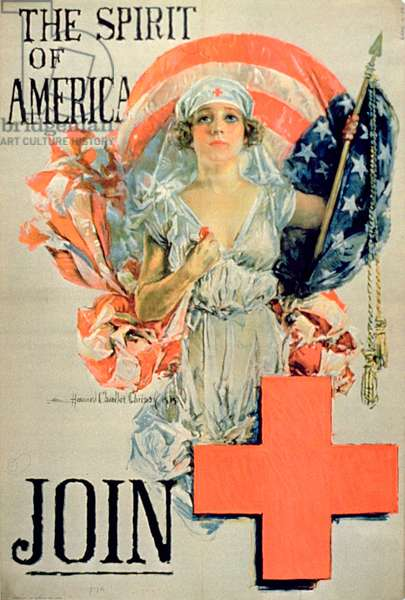 'The Spirit of America, Join', 1st World War poster (colour litho)