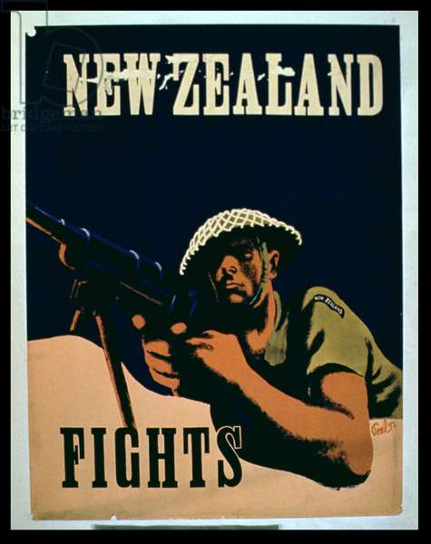 'New Zealand Fights', 2nd World War poster (colour lithograph)