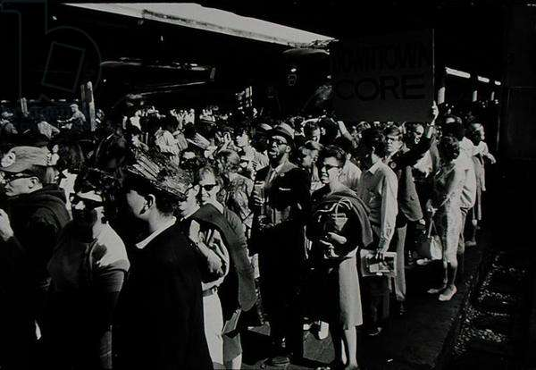 The March on Washington: Arriving in Union Station, Downtown CORE on the Platform, 28th August 1963 (b/w photo)