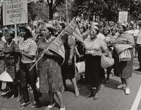 The March on Washington: Ladies Garment Workers' Union Marching on Constitution Avenue, 28th August 1963 (b/w photo)