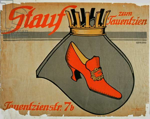 Advertisement for 'Stauf Shoes' (colour litho)