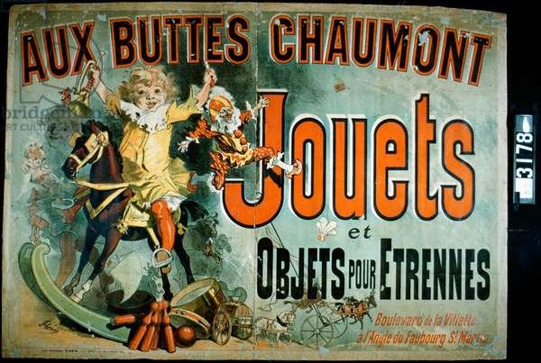 Aux Buttes Chaumont, 1885 (colour litho)