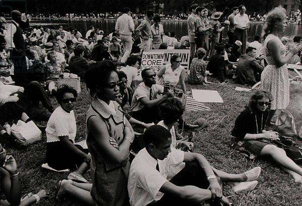 The March on Washington: Downtown CORE Protesters Seated on the Grass, 28th August 1963 (b/w photo)