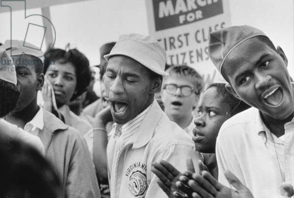 The March on Washington: A Group from Detroit, 28th August 1963 (b/w photo)