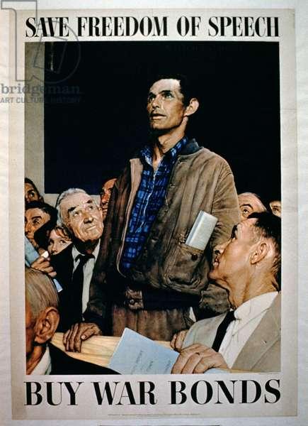 'Save Freedom of Speech, Buy War Bonds', 2nd World War poster (colour litho)