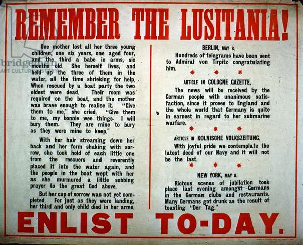 'Remember the Lusitania!', American enlistment poster from WWI (colour litho)