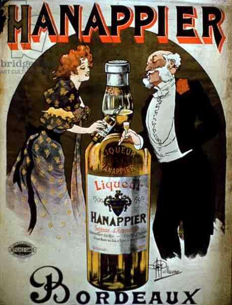 Poster advertising 'Hanappier Liqueur', Bordeaux (colour litho)