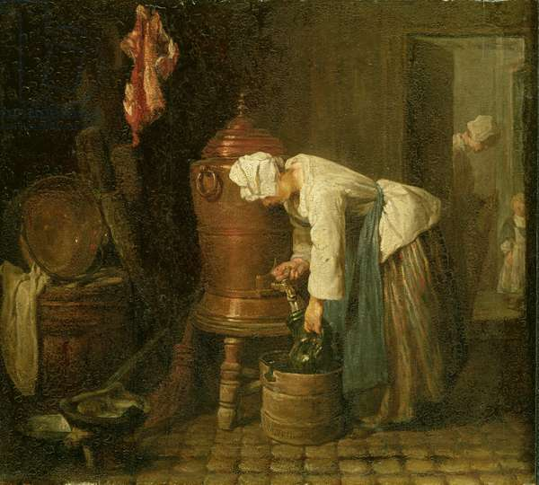 Woman Drawing Water from an Urn, 1733 (oil on panel)