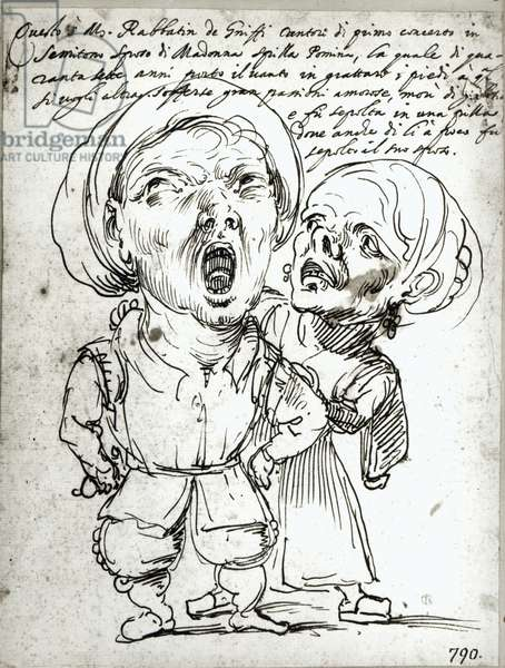 Caricature of Rabbatin de Griffi and his wife Spilla Pomina (pen and ink on paper) (photo)