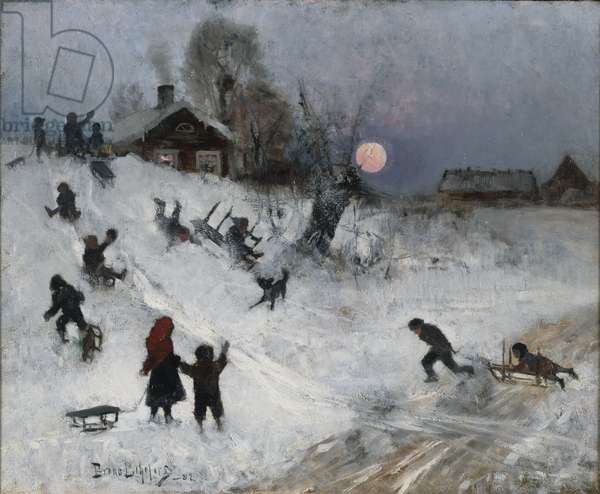Sledging, 1882 (oil on canvas)