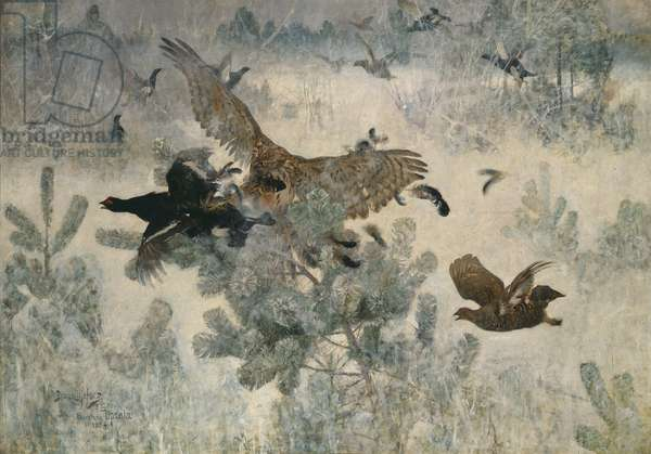 Hawk and Black Game, 1884 (oil on canvas)