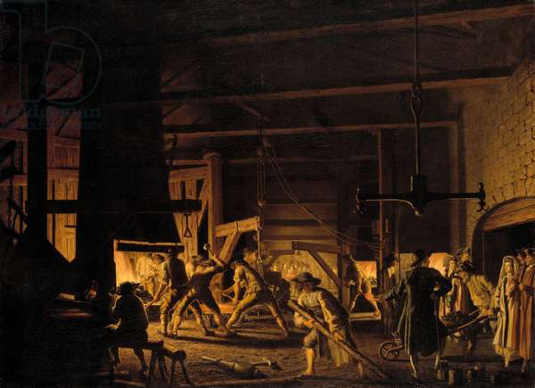 In the Anchor-Forge at Soderfors. The Smiths Hard at Work (oil on canvas)