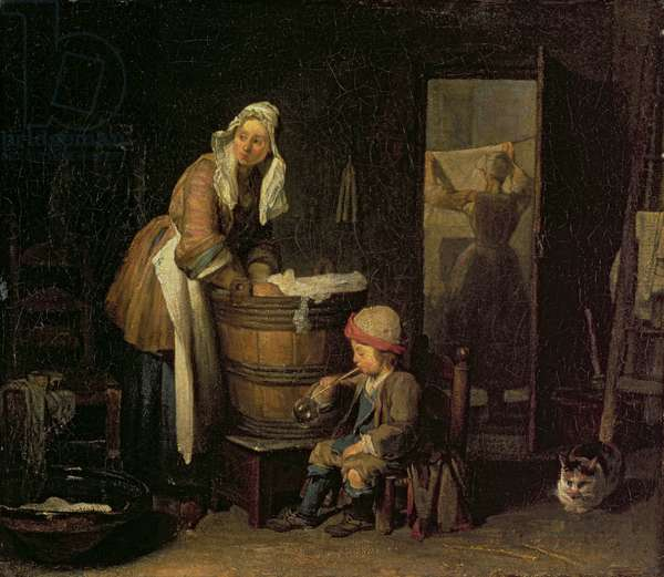 The Washerwoman (oil on canvas)