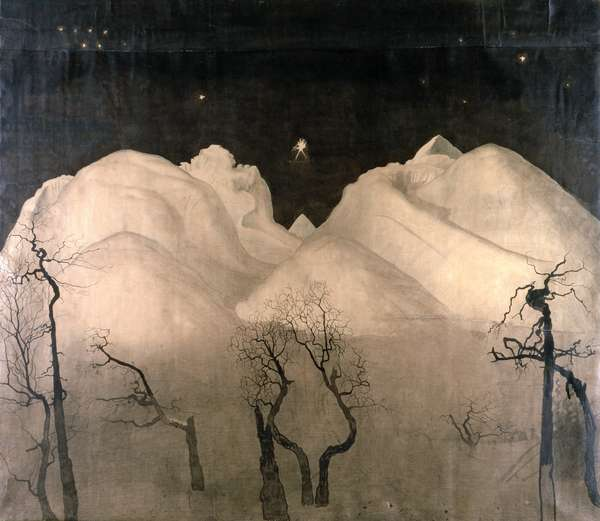 Winter Night in the Mountains, 1901-02 (w/c, pencil and ink on paper)