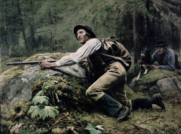 Elk Hunting, 1889 (oil on canvas)