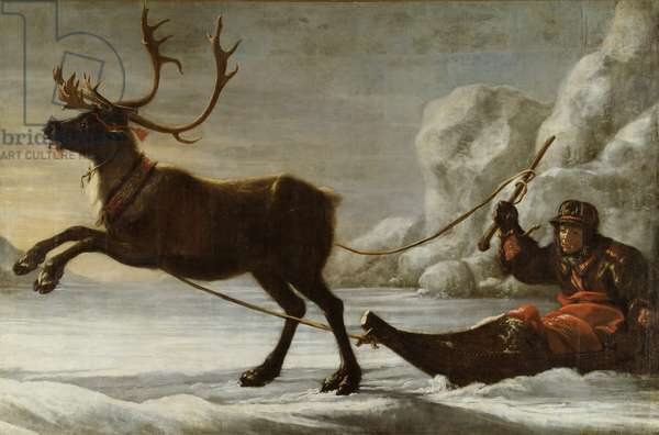 Abraham Renstirna Dressed as a Lapp and his Reindeer (oil on canvas)