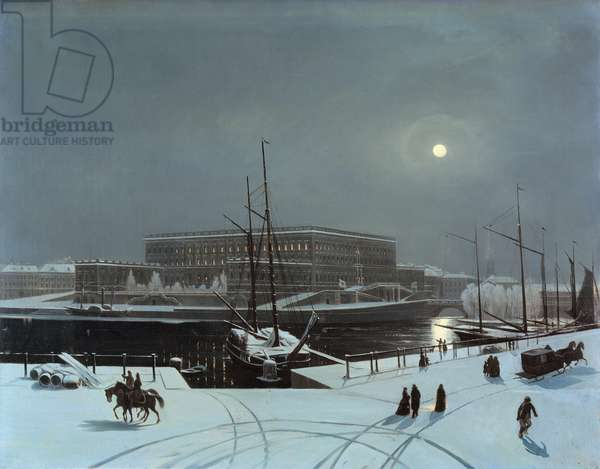 View of the Royal Palace of Stockholm in Winter (oil on canvas)