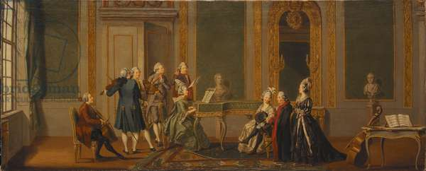 Gustavian Style Interior with a Musical Party (oil on canvas)