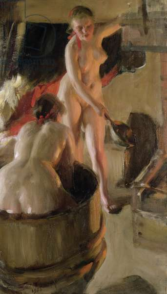 Girls from Dalarna Having a Bath, 1908 (oil on canvas)