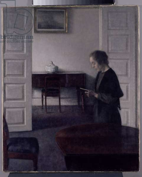 Interior with a Lady Reading, c.1900 (oil on canvas)